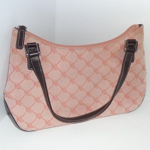 Lauren Ralph Lauren Pink Canvas Monogram Purse